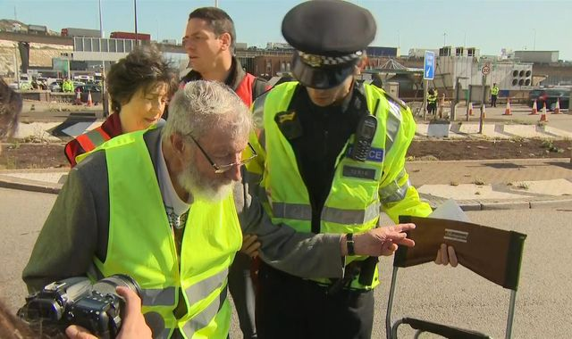 Extinction Rebellion: 91-year-old climate protester arrested near port of Dover