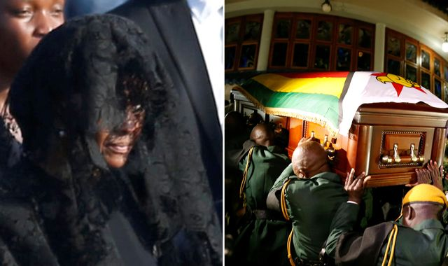 Robert Mugabe's widow joins mourners as his body is brought home to Zimbabwe