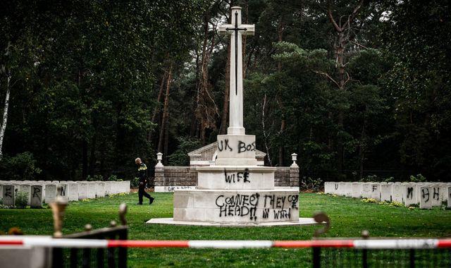 Vandals spray swastika at British World War Two cemetery in the Netherlands