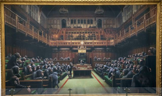 Banksy painting depicting MPs as chimps to go up for auction
