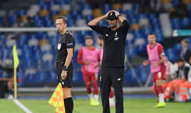 Jurgen Klopp unhappy with Napoli penalty call in Liverpool defeat