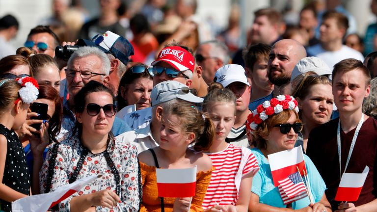 Spectators attend commemorative ceremonies marking 80 years since the outbreak of World War II on September 1, 2019 at Pilsudski Square in Warsaw, Poland. (Photo by Wojtek RADWANSKI / AFP)        (Photo credit should read WOJTEK RADWANSKI/AFP/Getty Images)