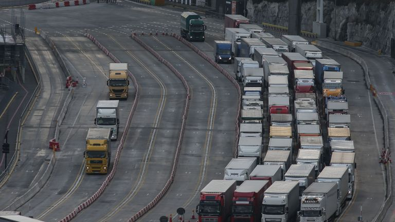 Lorries queue at the entrance of the port of Dover on the south coast of England on March 19, 2018. - Despite being the UK's gateway to Europe, locals in Dover on England's south coast voted 62 percent in favour of leaving the European Union. Since the 2016 referendum the British government has vowed to pull out of the European single market and customs union, which the port authority fears will lead to massive holdups for up to 10,000 lorries passing through each day. Dover handles up to £122 billion ($172 billion, 140 billion euros) of trade annually, with trucks currently processed in two minutes. But despite no solution being found a year ahead of Britain leaving the bloc, Brexit voters believe future benefits of the EU exit will outweigh any short-term chaos. (Photo by Daniel LEAL-OLIVAS / AFP)        (Photo credit should read DANIEL LEAL-OLIVAS/AFP/Getty Images)