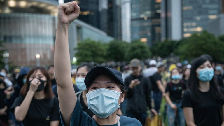 """HONG KONG, CHINA - SEPTEMBER 02: Protesters take part in a school boycott rally at Tamer Park in Central district on September 2, 2019 in Hong Kong, on September 02, 2019 in Hong Kong, China. Pro-democracy protesters have continued demonstrations across Hong Kong since 9 June against a controversial bill which allows extraditions to mainland China as the ongoing protests surpassed the Umbrella Movement five years ago, becoming the biggest political crisis since Britain handed its onetime colony back to China in 1997. Hong Kong's embattled leader Carrie Lam apologized for introducing the bill and declared it """"dead"""", however the campaign continues to draw large crowds to voice their discontent while many end up in violent clashes with the police as protesters show no signs of stopping. (Photo by Chris McGrath/Getty Images)"""