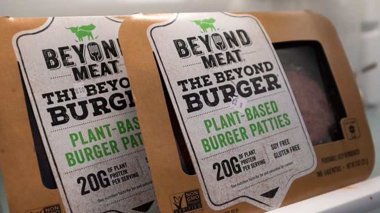 "NEW YORK, NY - JUNE 13: In this photo illustration, packages of Beyond Meat ""The Beyond Burger"" sit in a refrigerator, June 13, 2019 in the Brooklyn borough of New York City. Since going public in early May, Beyond Meat's stock has soared more than 450 percent and its market value is over $8 billion. Beyond Meat is a Los Angeles-based producer of plant-based meat substitutes, including vegan versions of burgers and sausages. (Photo Illustration by Drew Angerer/Getty Images)"