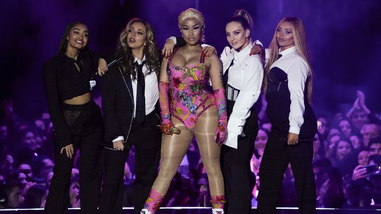 Singer Nicki Minaj and Little Mix perform at the 2018 MTV Europe Music Awards at Bilbao Exhibition Centre in Bilbao, Spain, November 4, 2018.   REUTERS/Vincent West
