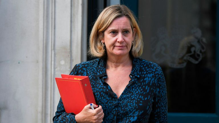 Britain's Work and Pensions Secretary and Women's minister Amber Rudd leaves the Cabinet Office on Whitehall in London on September 2, 2019. - Britain's Prime Minister Boris Johnson prepared on September 2 for a showdown with MPs opposed to a no-deal Brexit when Parliament returns on September 3. Johnson stoked controversy and protests August 31 across Britain after announcing August 28 he had instructed Queen Elizabeth II to suspend parliament in the final weeks before Brexit. (Photo by Ben STANSALL / AFP)        (Photo credit should read BEN STANSALL/AFP/Getty Images)