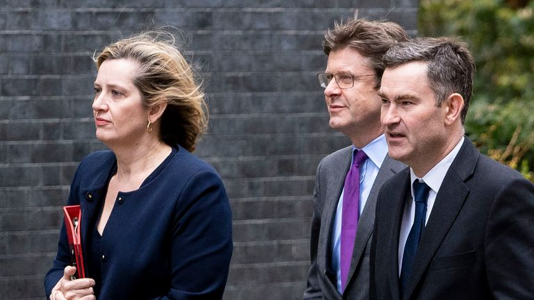 Britain's Work and Pensions Secretary Amber Rudd (L), Britain's Business Secretary Greg Clark (C), Britain's Justice Secretary and Lord Chancellor David Gauke arrive in Downing Street in London on March 14, 2019, ahead of a further Brexit vote. - British MPs will vote today on whether to ask the European Union for an extension to the March 29 Brexit deadline, with the whole process mired in chaos. (Photo by Niklas HALLE'N / AFP)        (Photo credit should read NIKLAS HALLE'N/AFP/Getty Images)