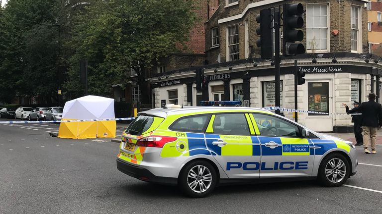 The scene at the junction of Malden Road and Prince of Wales Road, Kentish Town, north-west London, where a man was found with a gunshot wound after police, including armed officers, were called to a shooting late on Sunday night.
