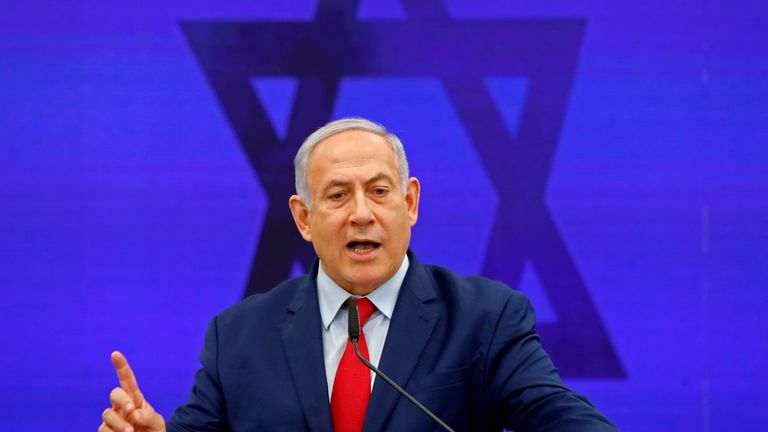 Israeli Prime Minister Benjamin Netanyahu gives a statement in Ramat Gan, near the Israeli coastal city of Tel Aviv, on September 10, 2019. - Israeli Prime Minister Benjamin Netanyahu issued a deeply controversial pledge on September 10 to annex the Jordan Valley in the occupied West Bank if re-elected in September 17 polls. He also reiterated his intention to annex Israeli settlements throughout the West Bank if re-elected, though in coordination with US President Donald Trump, whose long-awaited peace plan is expected to be unveiled sometime after the vote. (Photo by Menahem KAHANA / AFP)        (Photo credit should read MENAHEM KAHANA/AFP/Getty Images)