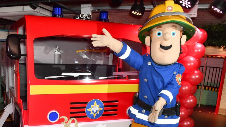 EMBARGOED TO 0001 FRIDAY NOVEMBER 17 EDITORIAL USE ONLY Fireman Sam celebrates his 30th anniversary at a special birthday party held at Mattel Play! Liverpool at the Albert Dock.