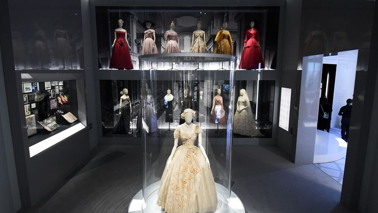 "LONDON, ENGLAND - JANUARY 30: Designer pieces on display during the ""Christian Dior: Designer of Dreams"" exhibition at Victoria & Albert Museum on January 30, 2019 in London, England. (Photo by Eamonn M. McCormack/Getty Images)"