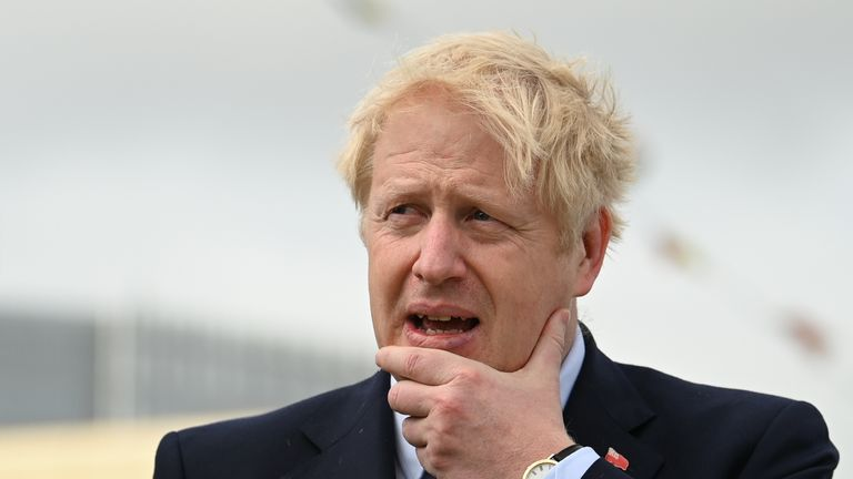 Britain's Prime Minister Boris Johnson visits the NLV Pharos, a lighthouse tender moored on the river Thames to mark London International Shipping Week in London on September 12, 2019. (Photo by DANIEL LEAL-OLIVAS / various sources / AFP)        (Photo credit should read DANIEL LEAL-OLIVAS/AFP/Getty Images)