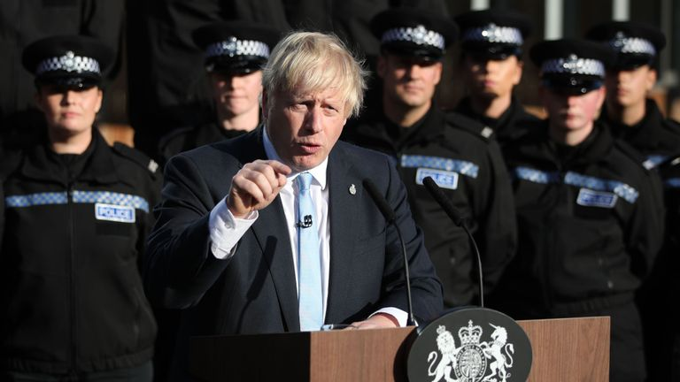 UNSPECIFIED, WEST YORKSHIRE - SEPTEMBER 05: Prime Minister Boris Johnson gives a speech to police officers during a visit on September 05, 2019 in West Yorkshire, United Kingdom. The government promised £750 million in yesterday's spending review to fund the first year of a plan to recruit an extra 20,000 police officers. (Photo by Danny Lawson - WPA Pool/Getty Images)