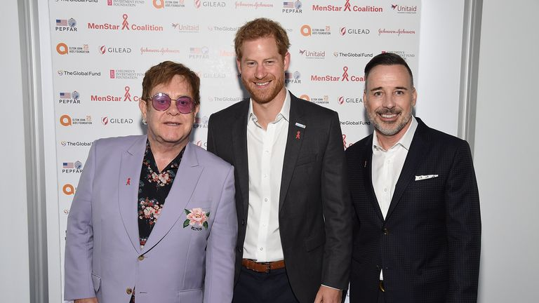 AMSTERDAM, NETHERLANDS - JULY 24: (L-R) Sir Elton John, Prince Harry, Duke of Sussex, and David Furnish attend the Launch of the Menstar Coalition To Promote HIV Testing & Treatment of Men on July 24, 2018 in Amsterdam, Netherlands.  (Photo by Michael Kovac/Getty Images for EJAF)