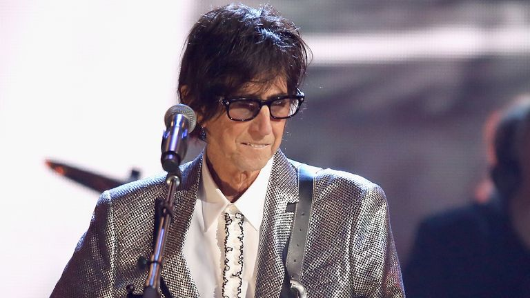 CLEVELAND, OH - APRIL 14:  Inductee Ric Ocasek of The Cars performs 33rd Annual Rock & Roll Hall of Fame Induction Ceremony at Public Auditorium on April 14, 2018 in Cleveland, Ohio.  (Photo by Kevin Kane/Getty Images For The Rock and Roll Hall of Fame)