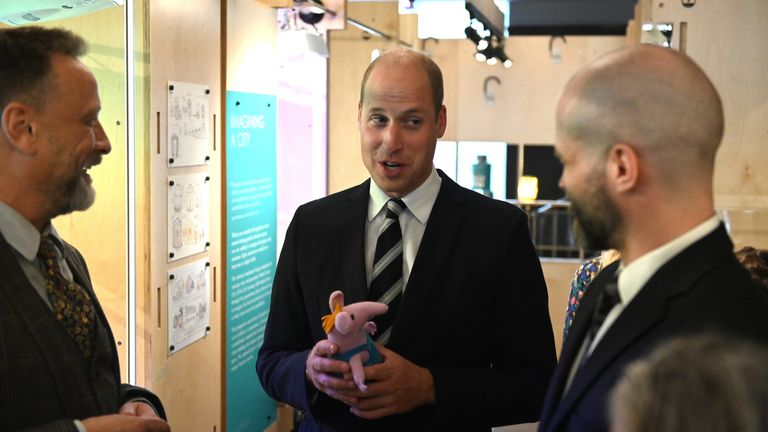 The Duke of Cambridge, in his role as president of the British Academy of Film and Televisions Arts (BAFTA), at BAFTA Piccadilly, London, receives a gift of a 'Clanger' as he views the Behind the Screens exhibition.