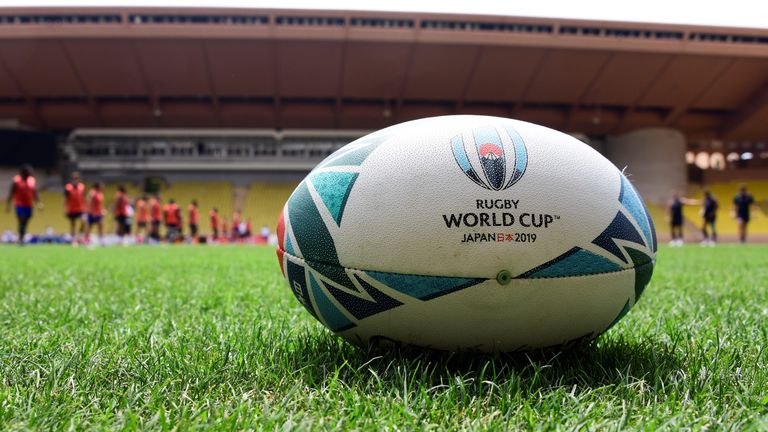 A picture shows a rugby ball while France's national rugby team players take part in a training session on July 22, 2019 at the Louis II stadium in Monaco, as part of the preparation of the Rugby World Cup 2019 in Japan from September 20 to November 2. (Photo by YANN COATSALIOU / AFP)        (Photo credit should read YANN COATSALIOU/AFP/Getty Images)