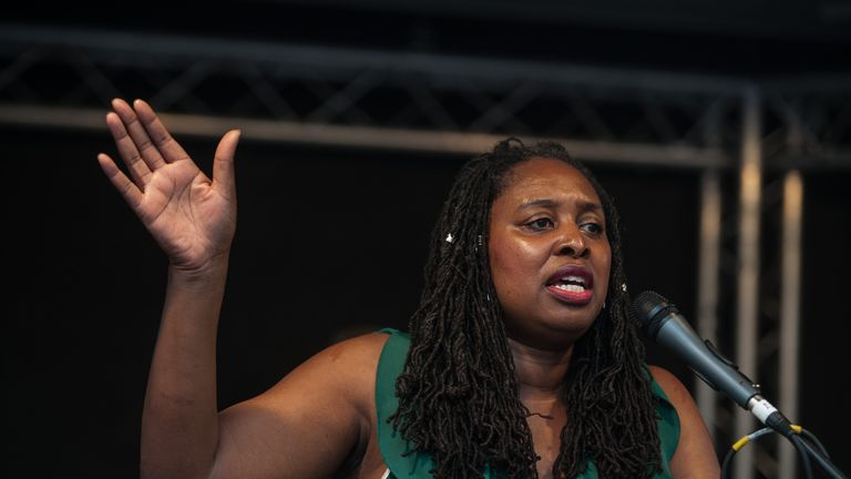 LONDON, ENGLAND - JULY 25: Dawn Butler MP addresses the rally on July 25, 2019 in London, England. A rally in Parliament Square organised by the Labour Party and addressed by Labour Leader Jeremy Corbyn and several Labour MPs calling for a General Election. (Photo by Guy Smallman/Getty Images)