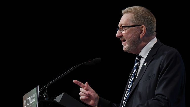General Secretary of Unite the Union, Len McCluskey speaks during the Trades Union (TUC) Congress in Brighton, southern England on September 10, 2019. (Photo by Ben STANSALL / AFP)        (Photo credit should read BEN STANSALL/AFP/Getty Images)