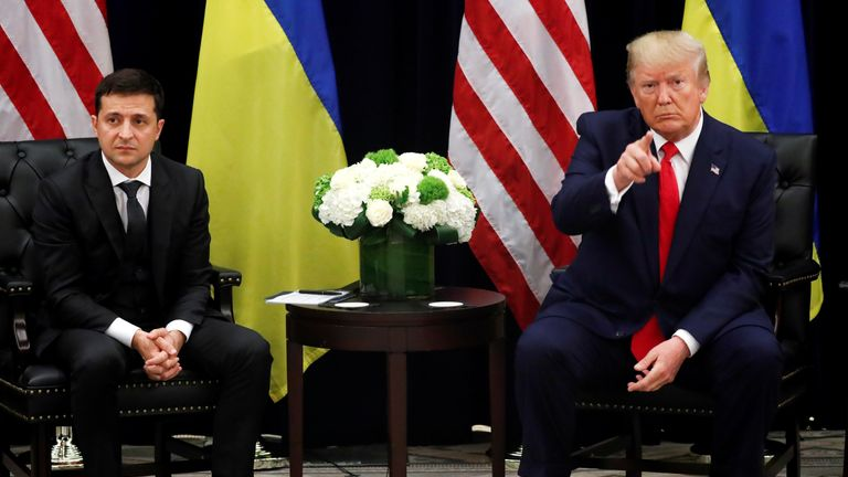 Ukraine's President Volodymyr Zelenskiy speaks during a bilateral meeting with U.S. President Donald Trump on the sidelines of the 74th session of the United Nations General Assembly (UNGA) in New York City, New York, U.S., September 25, 2019. REUTERS/Jonathan Ernst