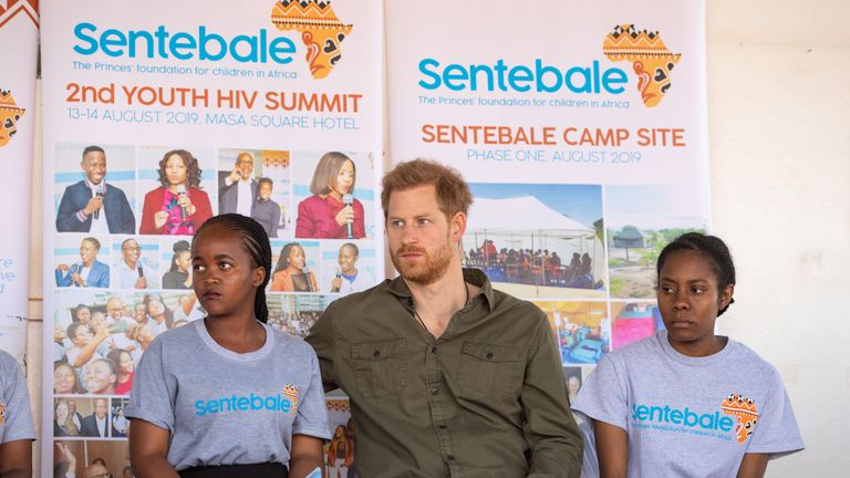 The Duke of Sussex joins in a confidence building exercise with young people including Tlotlo Moilwa (left), during a visit to the Kasane Health Post, run by the Sentebale charity, in Kasane, Botswana.