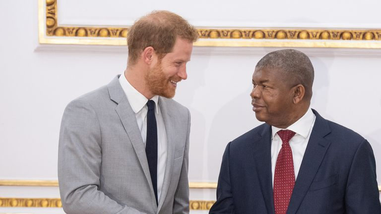 The Duke of Sussex meets with the President of Angola Joao Lourenco at the presidential palace in Luanda, Angola on day six of the royal tour of Africa.