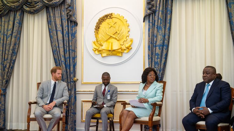 The Duke of Sussex during a meeting with First Lady Ana Dias Lourenco to brief him on the work of Born Free to Shine, a project which focuses on preventing HIV/AIDS transmission from mothers to babies, at the presidential palace in Luanda, Angola on day six of the royal tour of Africa.
