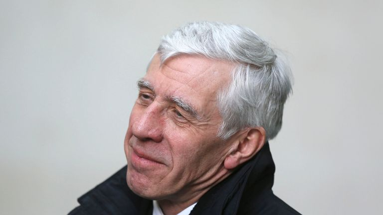 """Former British foreign minister Jack Straw speaks to a television crew as he leaves a BBC building in central London February 23, 2015. Two former British foreign ministers have been filmed offering their services to a fictitious Chinese company in return for thousands of pounds, reigniting a damaging 2010 """"cash for access"""" row just months before an election. REUTERS/Paul Hackett (BRITAIN - Tags: POLITICS ELECTIONS)"""