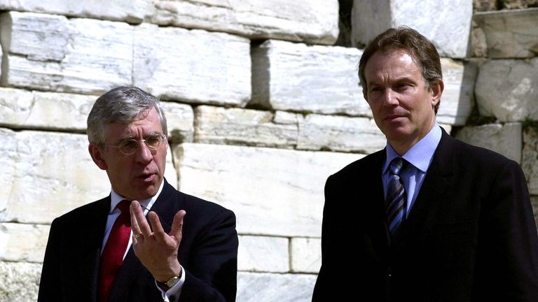 ATHENS, GREECE - APRIL 16: British Prime Minister Tony Blair(R) talks with Britain's Foreign Minister Jack Straw as they arrive at the the European Union enlargement ceremony April 16, 2003 in Athens, Greece. Ten nations signed treaties April 16 to join the European Union. (Photo Milos Bicanski/Getty Images)