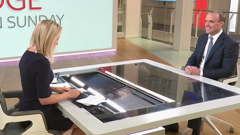 Dominic Raab appeared on Sophy Ridge on Sunday