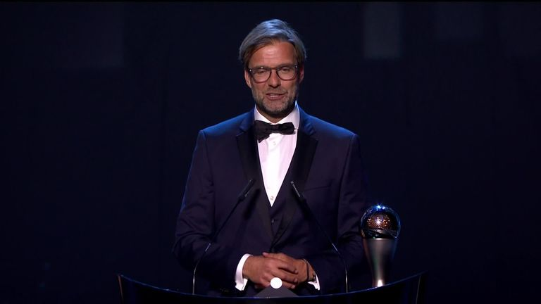 Klopp scoops coach award at Federation Internationale de Football Association ceremony