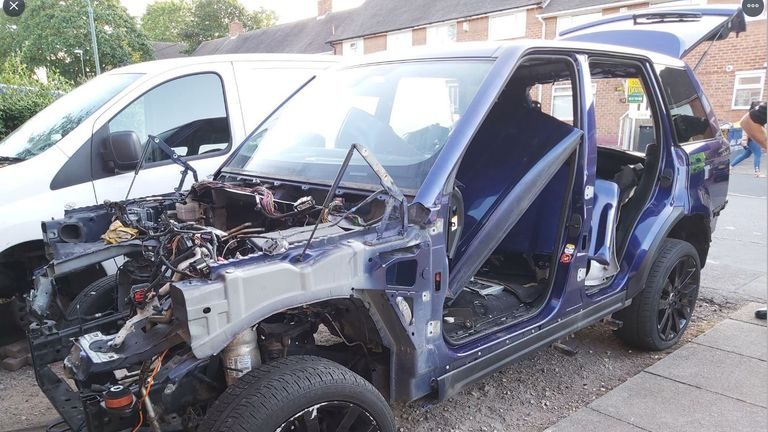 The car was found stripped of its parts in Birmingham. Pic: @ChelmsleyWMP