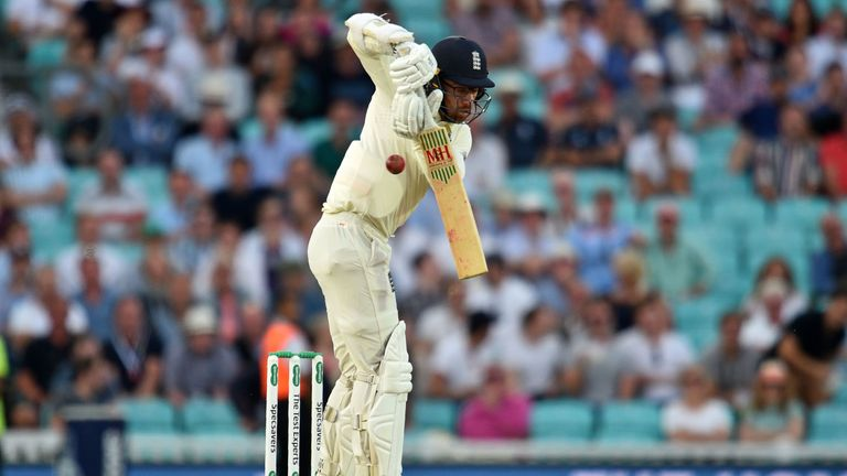 England's Jack Leach fends off a short ball on day three of the fifth Ashes Test at the Kia Oval