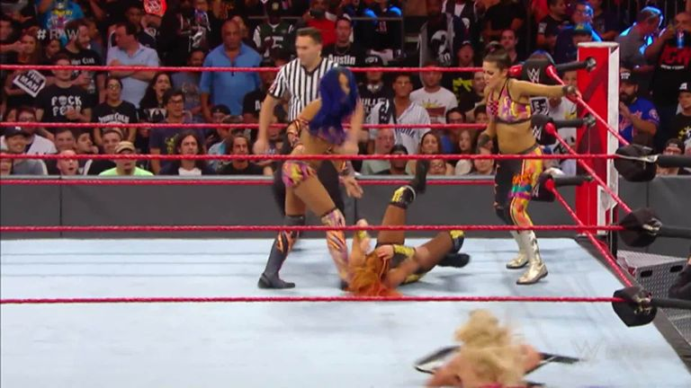 Sasha Banks resumed her rivalry with Charlotte Flair in an explosive women's tag match against Bayley and Sasha Banks on Raw