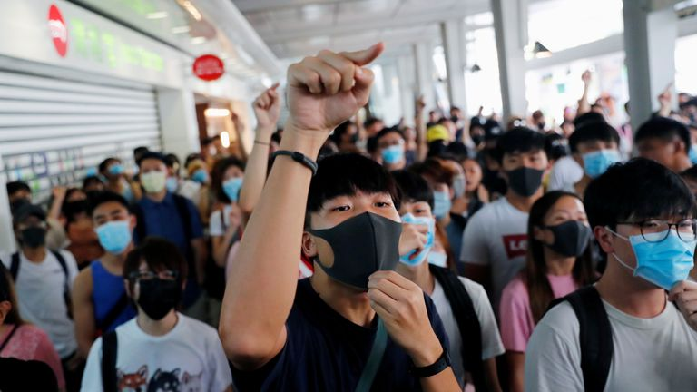 Protesters at a demonstration in Tung Chung station in Hong Kong