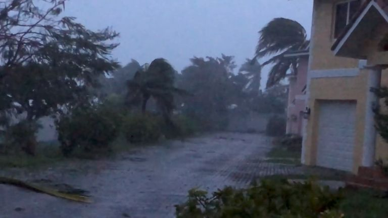 Strong winds batter Oceanhill Boulevard in Freeport, as Hurricane Dorian passes over Grand Bahama Island