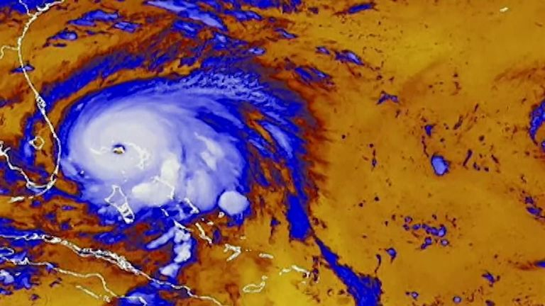 A satellite map showing Hurricane Dorian off the Florida coastline. Pic: National Hurricane Centre