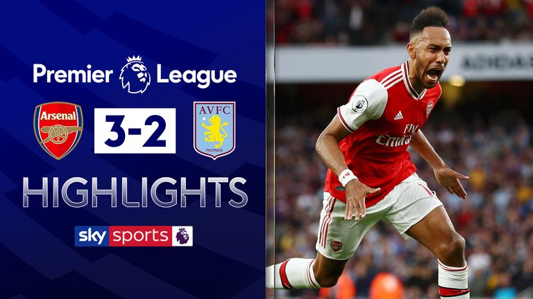 Aubameyang caps comeback from 10-man Arsenal to beat Villa