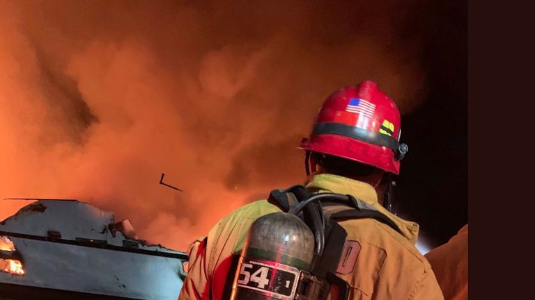 The Ventura County Fire Department tweeted pictures of the fire