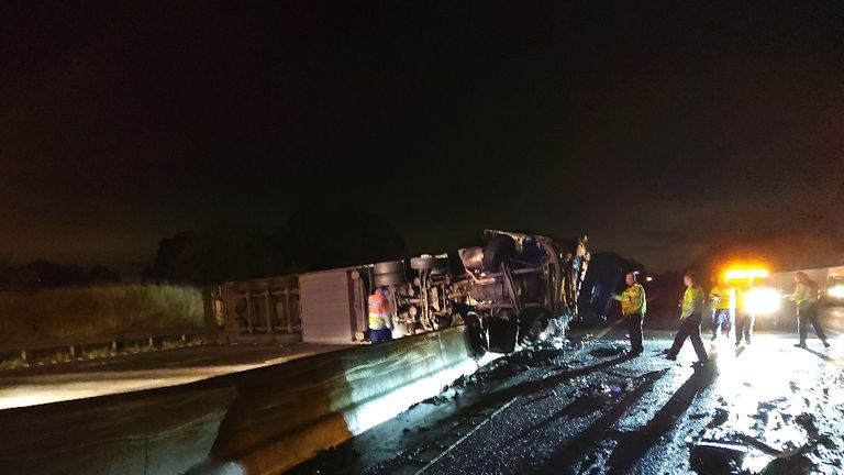 The M6 was closed in both directions in Staffordshire after a lorry crashed through the central reservation. Pic: Highways England