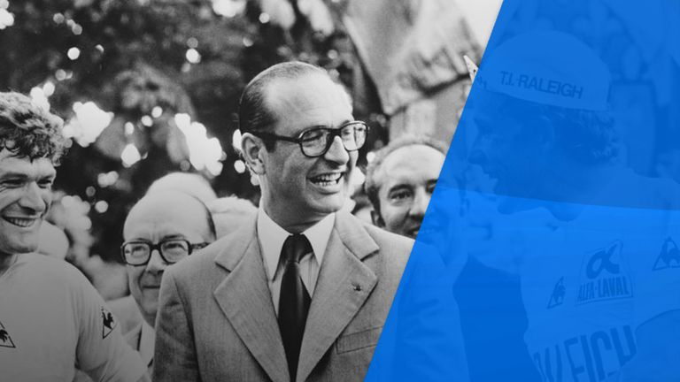 Chirac in 1977 congratulating  Dietrich Thurau, the German winner of the Tour de France,  while he was Mayor of Paris