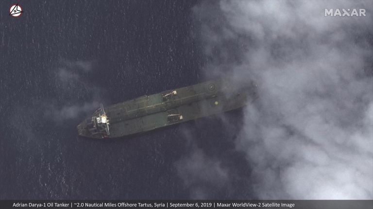 The Adrian Darya-1 seemingly shown by satellite images near Syria