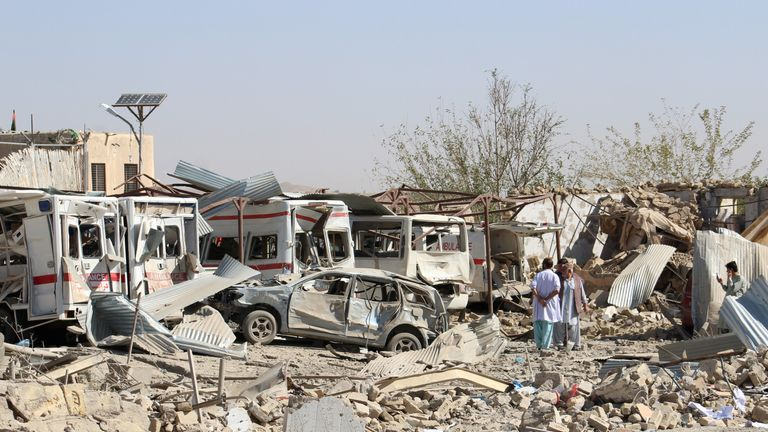 A fleet of ambulances were damaged in the blast