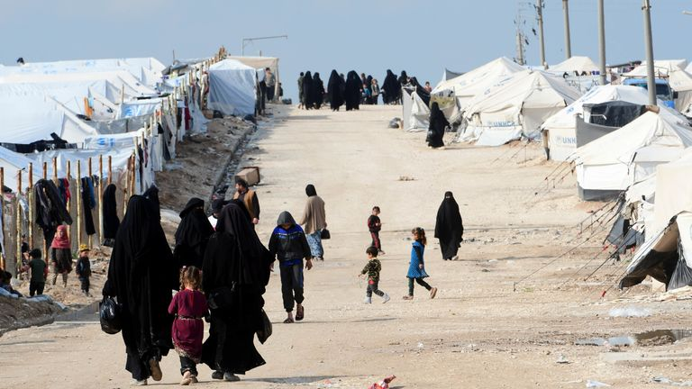 Al-Hol camp which houses relatives of IS members in Syria