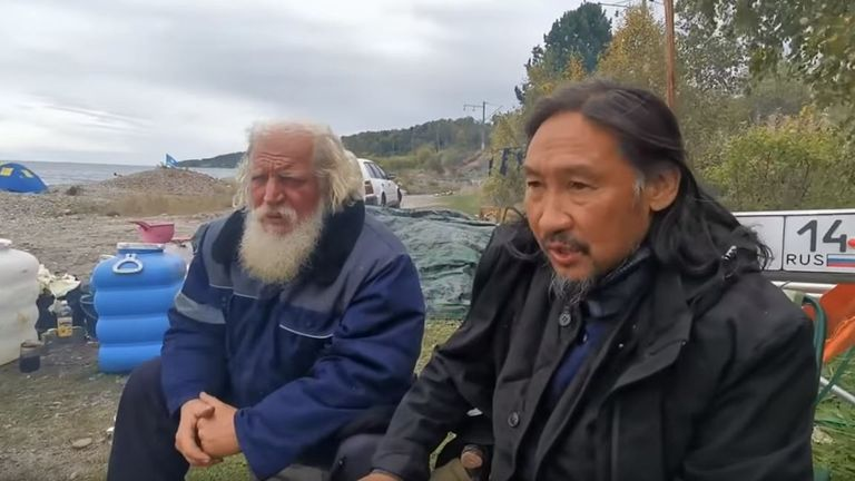 Aleksandr Gabyshev (right) had been camping near Lake Baikal with his followers. Pic: YouTube/ Aleksandr Gabyshev