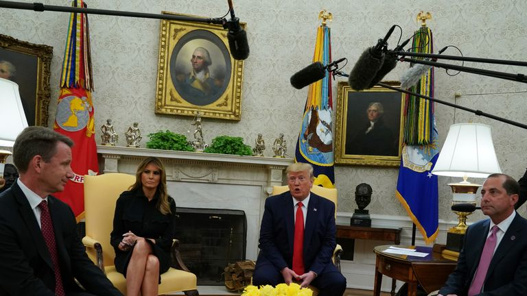 From left: Health secretary Alex Azar, First Lady Melania Trump, President Donald Trump and acting Food and Drug Administration commissioner Norman Sharpless announced the proposal at the Oval Office