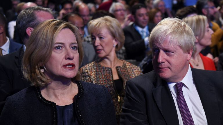 Amber Rudd and Boris Johnson