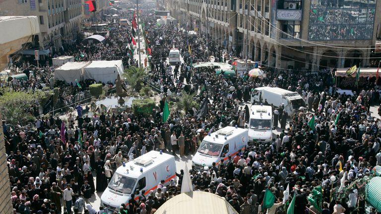 Ambulances at scene of stampede in Kerbala