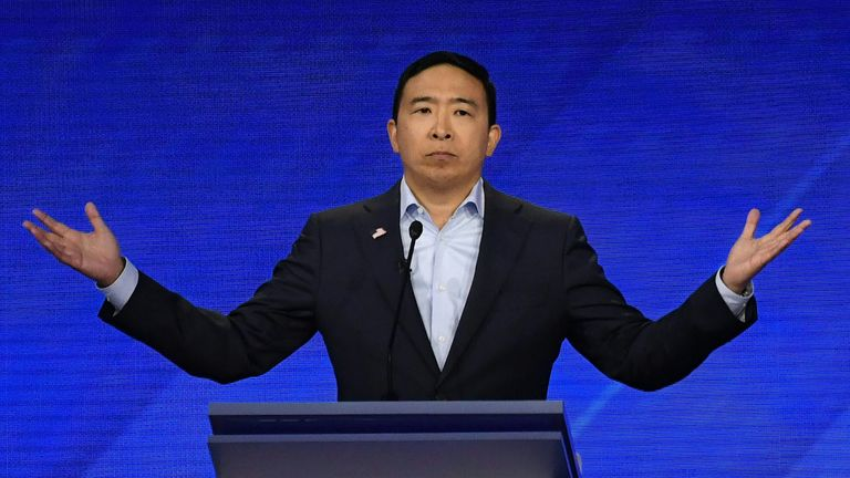 HOUSTON, TEXAS - SEPTEMBER 12: Democratic presidential candidate former tech executive Andrew Yang appears on television screens in the media filing center during the Democratic Presidential Debate at Texas Southern University's Health and PE Center on September 12, 2019 in Houston, Texas. Ten Democratic presidential hopefuls were chosen from the larger field of candidates to participate in the debate hosted by ABC News in partnership with Univision. (Photo by Justin Sullivan/Getty Images)